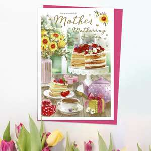 ' For A Wonderful Mother On Mothering Sunday' Card Featuring A Full Colour Afternoon Tea! Complete With Gold Foil Detail And Cerise Envelope