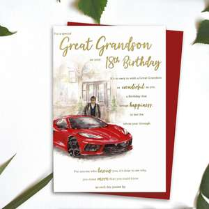 Great Grandson Age 18 Birthday Card Alongside Its Red Envelope
