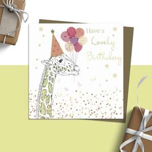 ' Have A Lovely Birthday' Card From Rush Design Featuring A Giraffe With Birthday Balloons In His Mouth! Added Gold Foiling Detail and Complete With Brown Envelope. Blank Inside For Own Message.