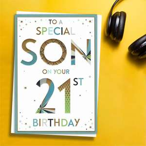 ' To A Special Son On Your 21st Birthday' Card Featuring Multi Coloured Lettering With Gold Foil Detail. Complete With White Envelope And Colour Printed Insert.