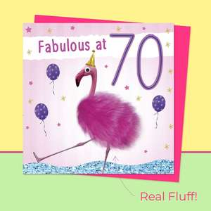 Fluff - 70 Today Flamingo Card Front Image