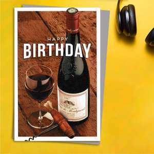 Gentlemen's Gallery - Red Wine Birthday Card Front Image