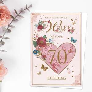 Wife On Your 70th Birthday Floral Heart Card Front Image