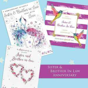 A Selection Of Cards To Show The Depth Of Range In Our Sister & Brother In Law Anniversary Section