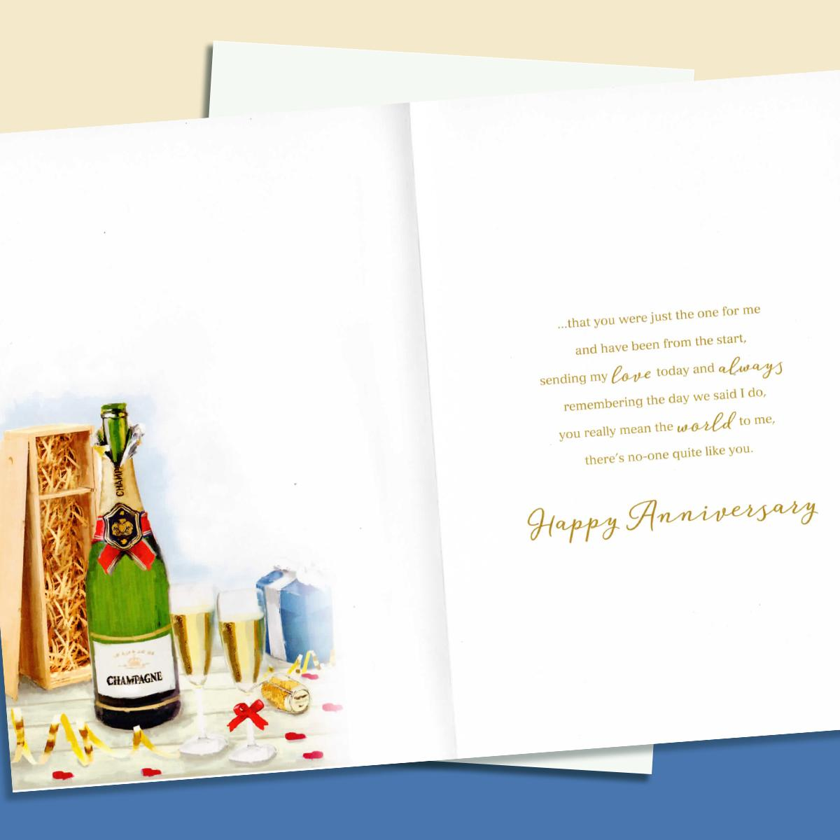 Image Of Inside Of Husband Anniversary Card Showing Layout And Printed Text