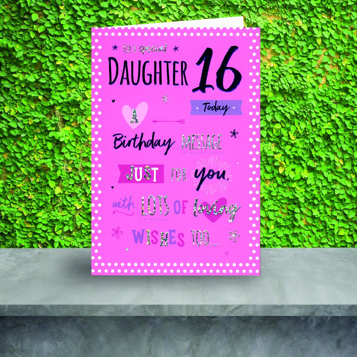 Daughter Age 16 Birthday Card Sitting On A Display Shelf