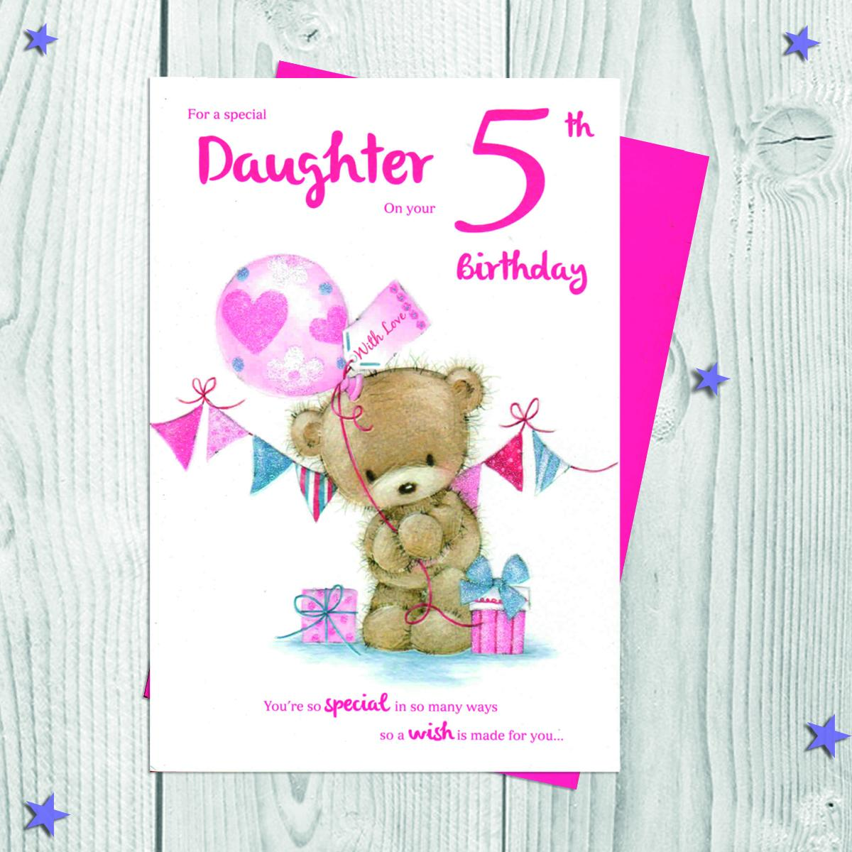 Daughter Age 5 Birthday Card Alongside Its Envelope