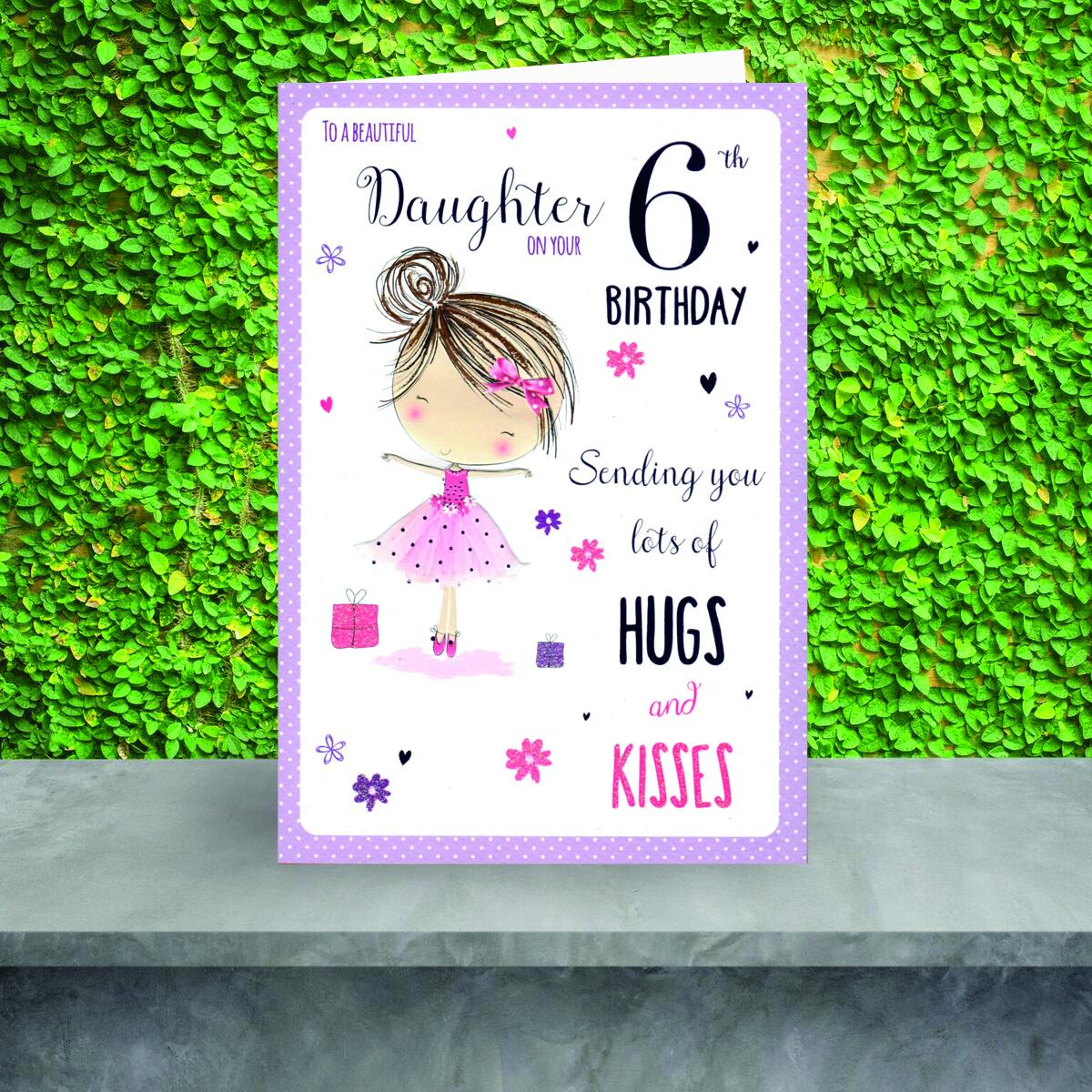 Daughter Age 6 Birthday Card Sitting On A Display Shelf
