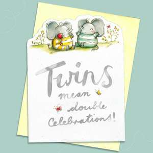 Birth Of Twins Congratulations Card