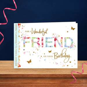 Landscape Friend Birthday Card Sitting On A Display Shelf