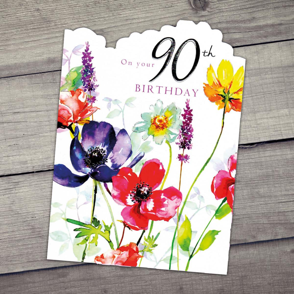 90th Colourful Birthday Card Sitting On A Display Shelf