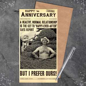 Funny Anniversary Card Alongside Its Envelope