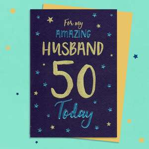 Husband Age 50 Birthday Card Sitting On A Display Shelf
