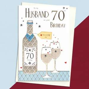 Husband Age 70 Birthday Card Sat On A Wooden Display Shelf