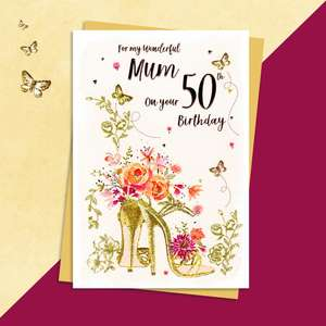 Mum Age 50 Birthday Card Alongside Its Gold Envelope