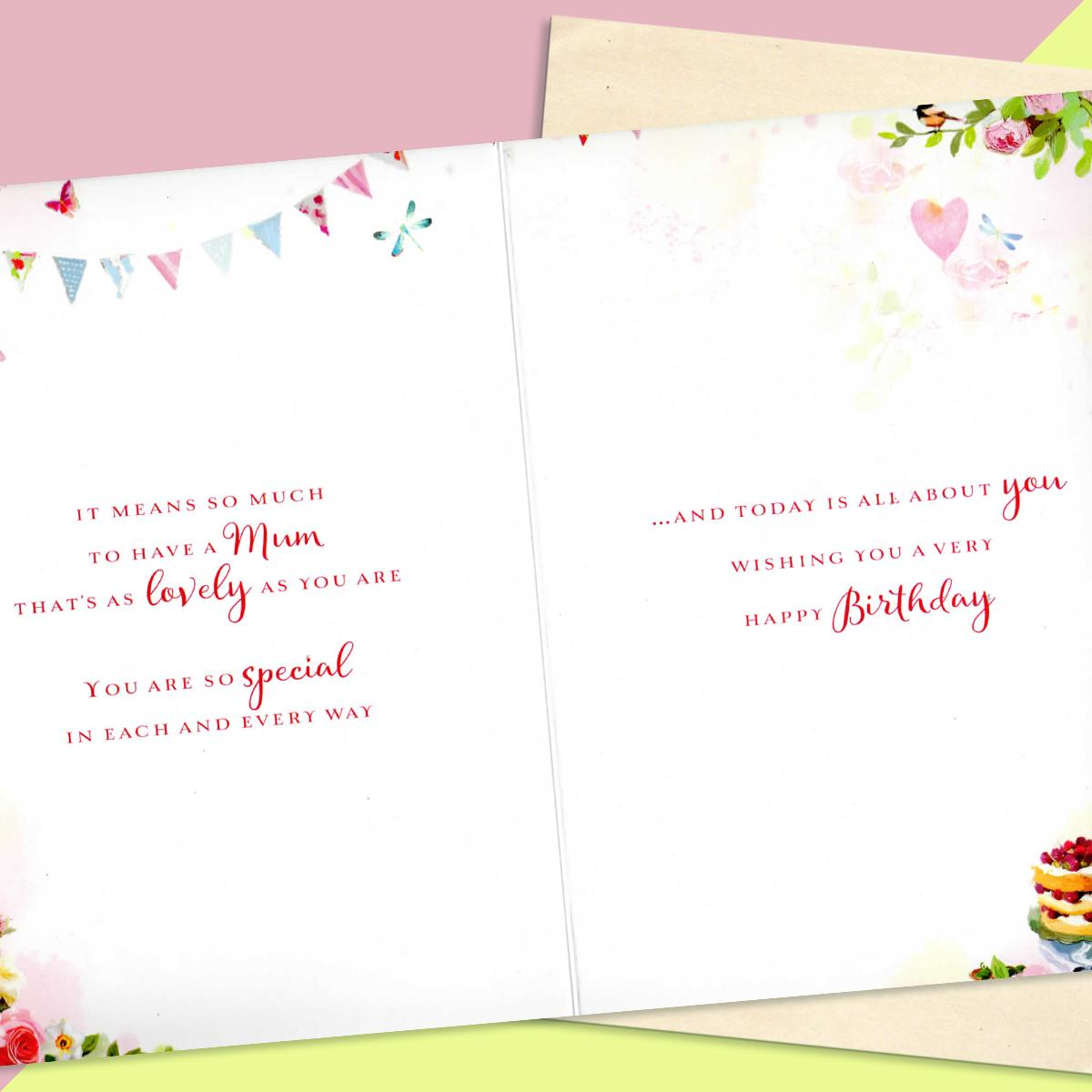 Inside Image Of Mum Birthday Card Showing Layout And Printed Text
