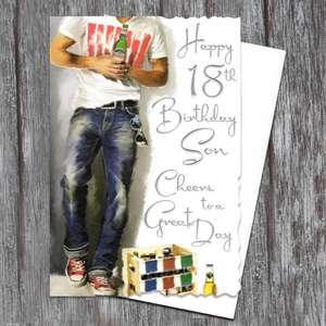 Son Age 18 Birthday Card Alongside Its White Envelope