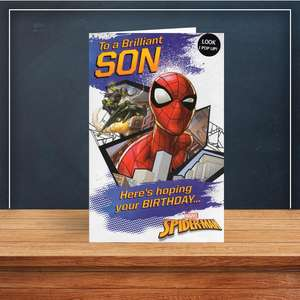 Son Spiderman Birthday Card Sitting On A Display Shelf