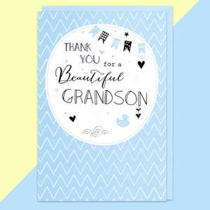 Thank You For A Beautiful Grandson Congrats Card Sitting On A Display Shelf