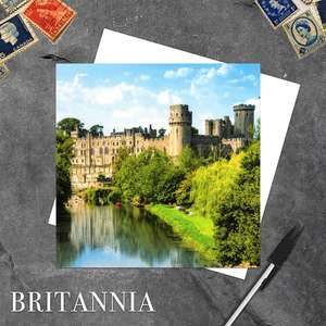 Warwick Castle Blank Greeting Card Alongside Its White Envelope