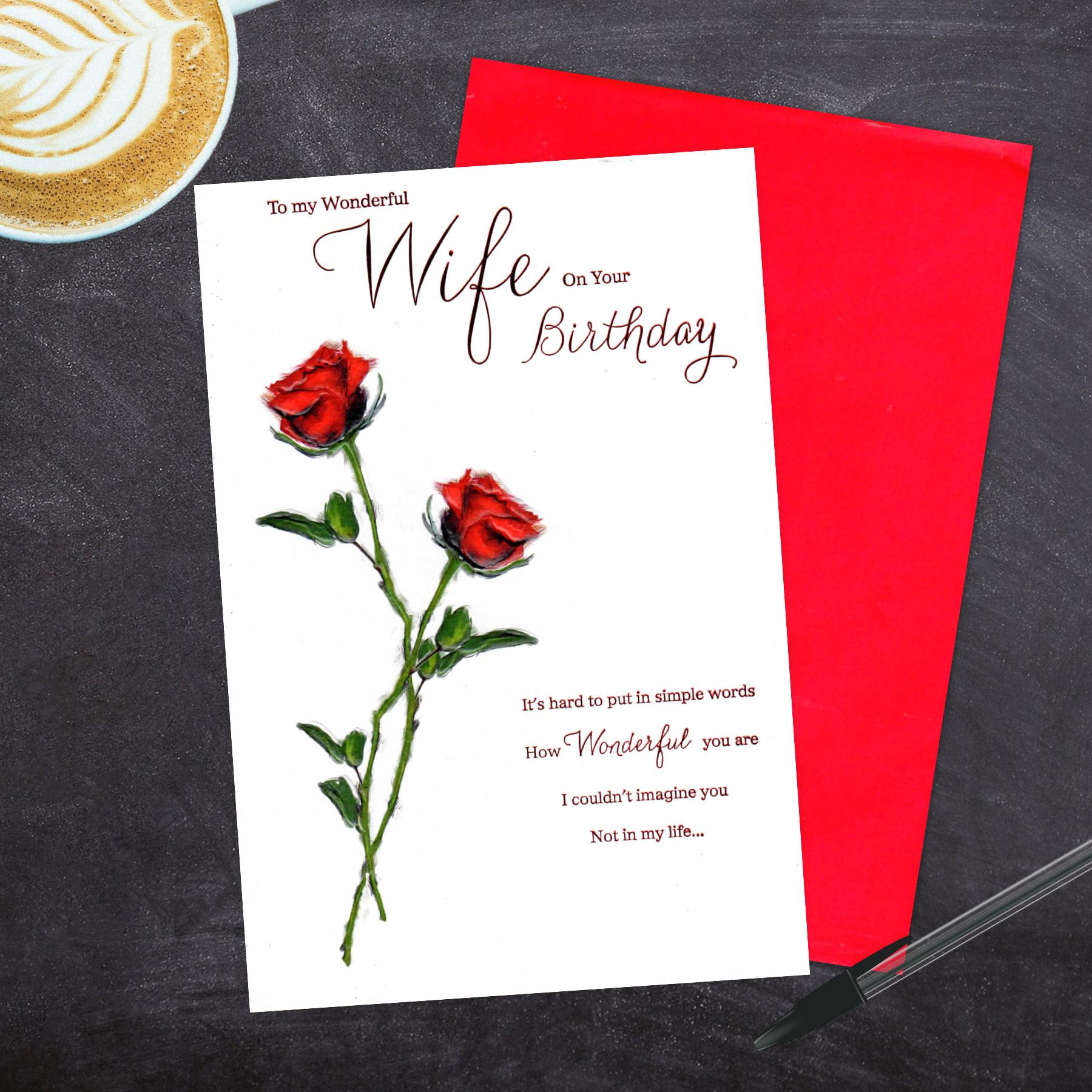 Wife Red Roses Birthday Card Alongside Its Red Envelope
