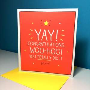 Congratulations Greeting Card Alongside Its Neon Yellow Envelope