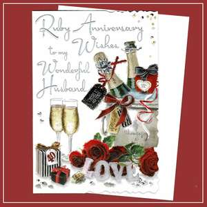Husband Ruby Anniversary Card Alongside Its White Envelope