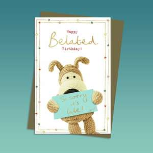 Boofle Belated Birthday Card Alongside Its Kraft Envelope