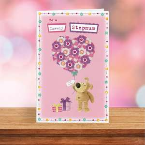 Boofle Stepmum Mothers Day Card Sitting On A Display Shelf