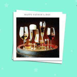 Beer, Wine And Spirits Father's Day Card Alongside White Envelope