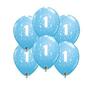 Image Of 6 Inflated Blue Age 1 Latex Balloons