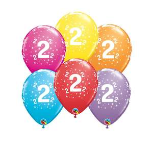 Image Of 6 Inflated Age 2 Multicoloured Latex