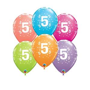 Image Of 6 Inflated Age 5 Latex Balloons