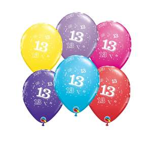 Image Of 6 Inflated Age 13 Multicoloured Latex Balloons