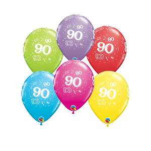 Image Of 6 Age 90 Multicoloured Latex Balloons