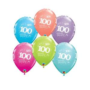 Image Of 6 Inflated Age 100 Multicoloured Latex