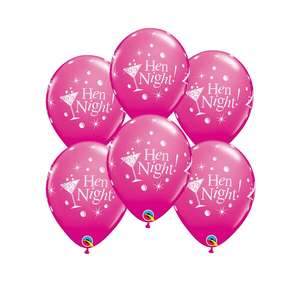 Image Of A Packet Of 6 Hen Night Latex Balloons