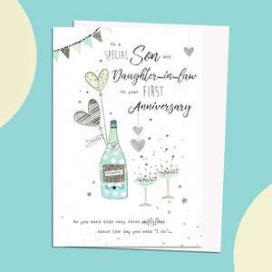Son And Daughter 1st Anniversary Card Featuring A Champagne Bottle And Glasses