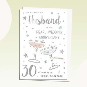 Husband On Our Pearl Anniversary Card Featuring A Pair Of Martini Glasses