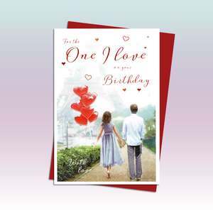 One I Love Birthday Card Showing A Couple Walking Hand In Hand In Paris