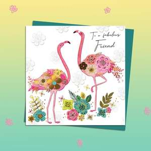 Highly Decorated Flamingos Birthday Card Alongside Its Teal Envelope