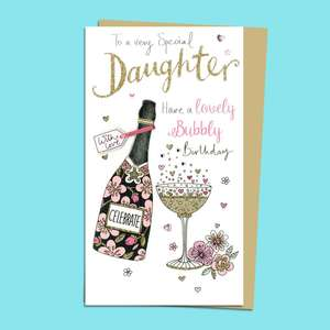 Daughter Birthday Bubbly Birthday Card Alongside Its Gold Envelope