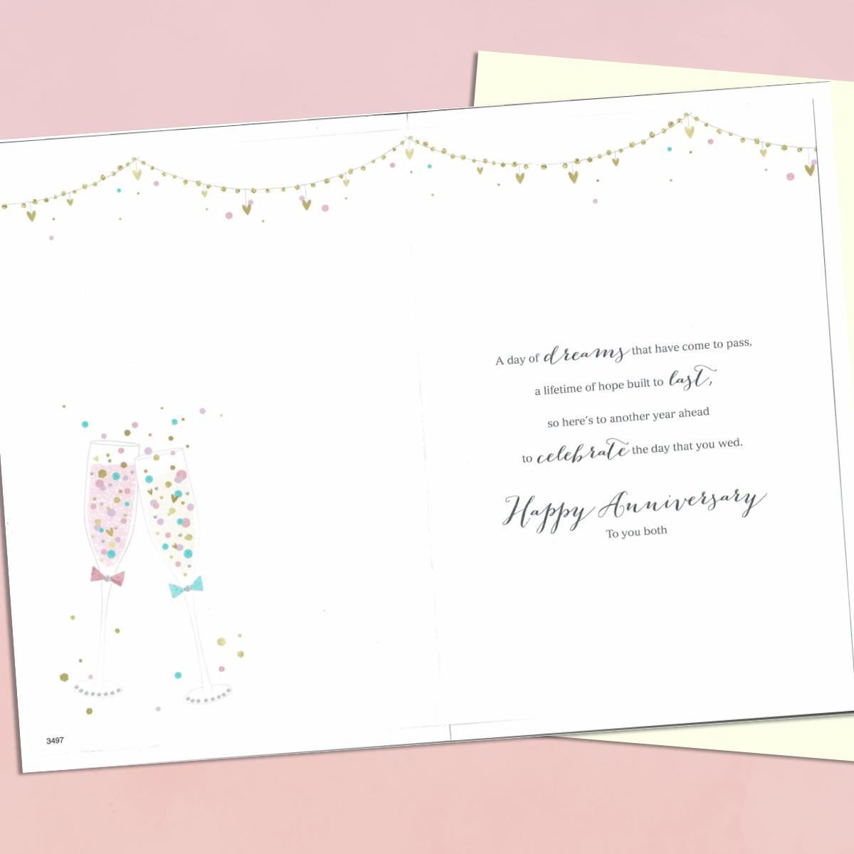 happy 10th anniversary champagne toast greeting card