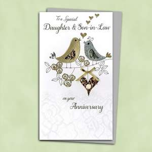 Daughter And Son In Law Handmade Anniversary Card Alongside Its Silver Envelope
