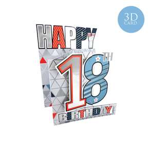 Age 18 3 Fold Birthday Card Alongside Its Silver Envelope