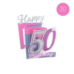 3 Fold Age 50 Birthday Card Alongside Its Silver Envelope