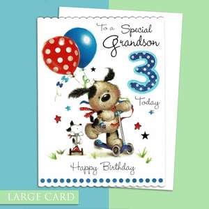 Grandson Age 3 Birthday Card Alongside Its White Envelope