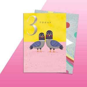 Age 3 Birds Themed Birthday Card Alongside Its Rainbow Themed Envelope