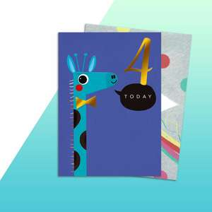 Age 4 Boys Giraffe Themed Birthday Card Alongside Its Rainbow Envelope
