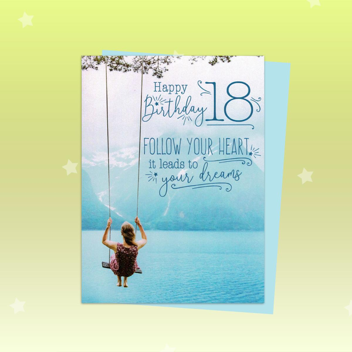 18th Follow Your Heart Birthday Card Alongside Its Light Blue Envelope
